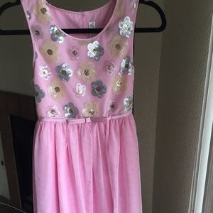 Pink flowered dress with tulle bottom!